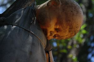 An island filled with hundreds of hanging, decomposing, decapitated dolls