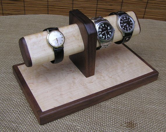 Birdseye Maple / Walnut - Watch Stand, Mens Valet, Watch Display, Bracelet Display, Jewelry Holder