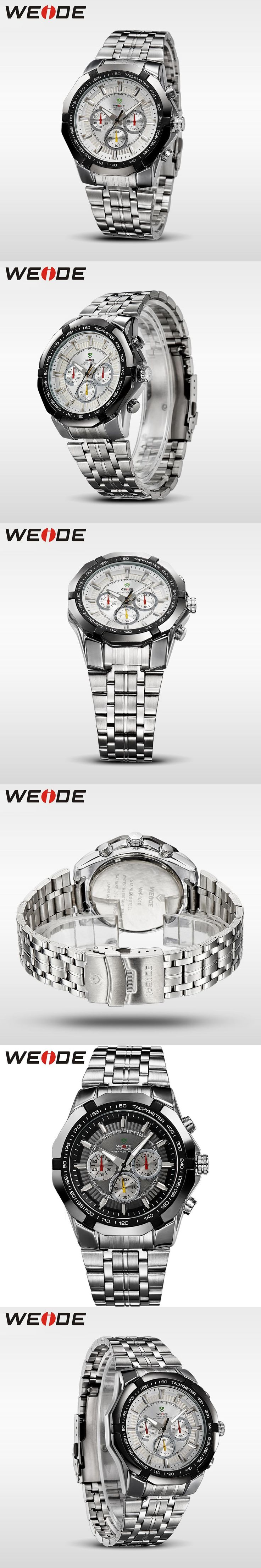 WEIDE New Sports Japan Quartz Watch Men Military 30 Meters Waterproof Full Stainless Steel White Dial Wristwatches Sale Items