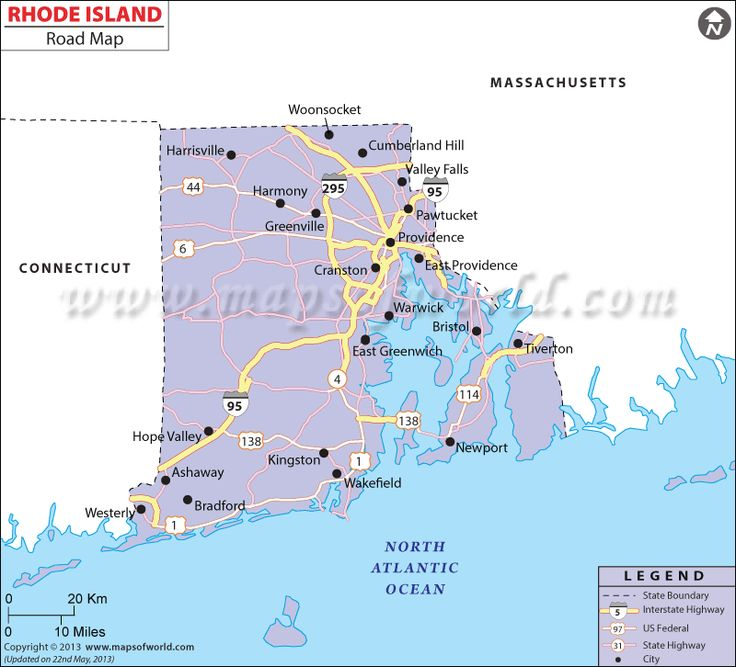 Rhode Island Road Map Displaying The Federal Highways State Highways Major Roads Which Passing Through The Cities And Towns In Rhode Island Usa
