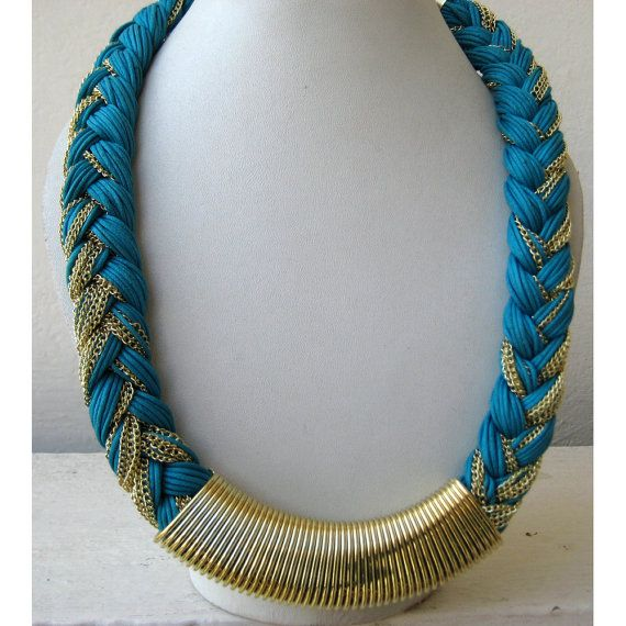 Turquoise Blue Braided and Chain Bohemian Necklace / by FootSoles, $27.50