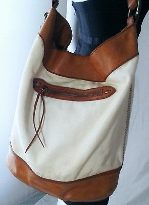 Lucky Brand Canvas & Leather Shoulder Bag Bucket Boho Slouchy Natural & Brown
