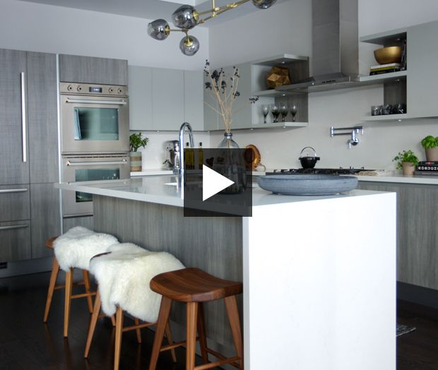 VIDEO: A Kitchen With Maxed-Out Storage | There's a place for everything inside this sleek kitchen by designer Maia Roffey and Scavolini. See how it all came together. | #kitchen #kitchendesign #beforeandafter #makeover #renovation #interiordesign #scavolini #greykitchen