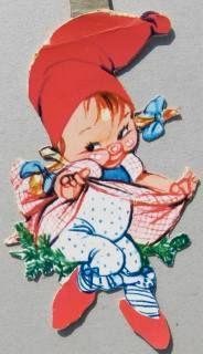 Vintage Danish Christmas elf - Danish illustrator Christel