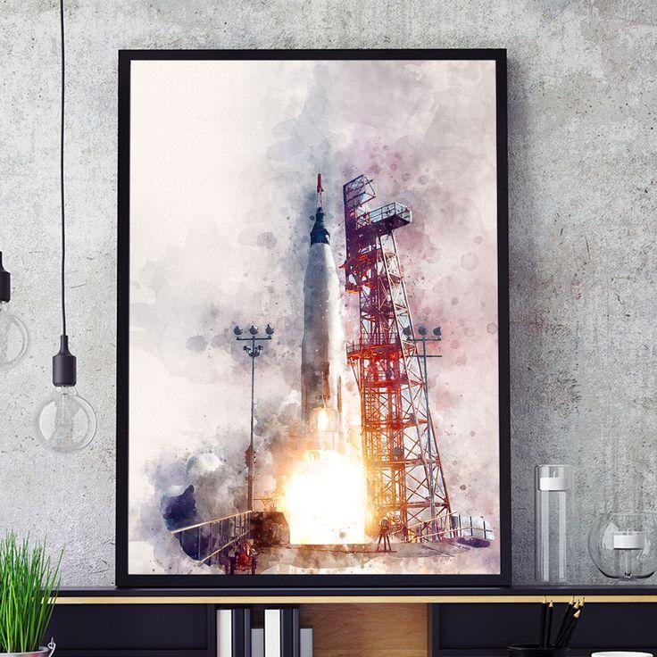 NASA Rocket Poster, Rocket Launch Print, Kids Room Decor, Watercolour Space Rocket Art, Nursery Wall Art, Nasa Space Program, Giclee (N315) by PointDot on Etsy