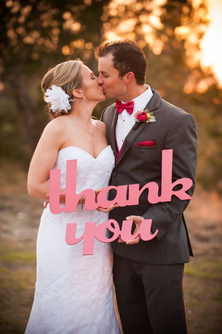 """Unique thank you sign wedding photo props are the perfect way to send personalized thank you cards after your wedding. This fun wedding """"thank you"""" sign set makes for memorable wedding pictures of the"""