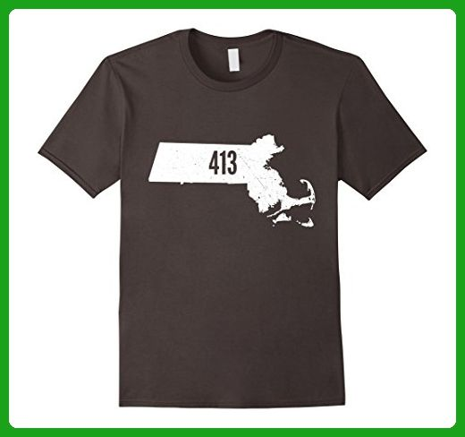 Mens 413 Massachusetts Outline State Pride Area Code T-Shirt 2XL Asphalt - Cities countries flags shirts (*Amazon Partner-Link)