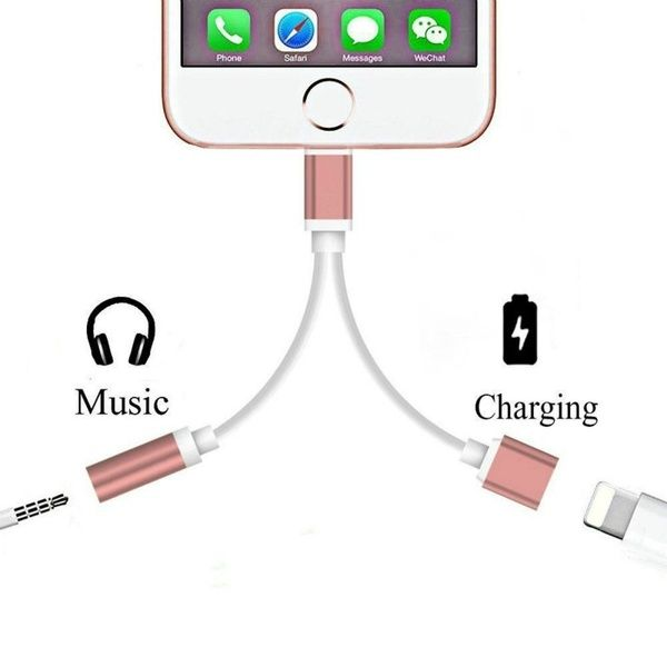 2 In 1 For Apple Lightning Audio Converter 3 5mm Audio Headphone Jack Adapter Play Music For Iphone 7 Plus Audio Headphones Iphone Headphones Iphone Earphones