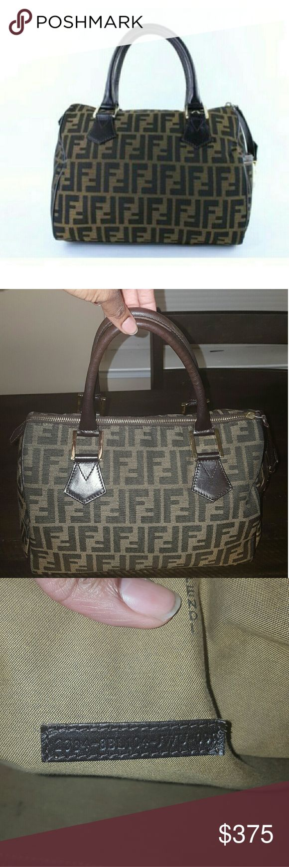 Fendi Bag Brown Monogram Zucca Canvas Medium Chef  Boston Satchel. Gently used with normal wear and tear. There is a stain in the bottom as shown in the picture. This item is a jewel! Great condition and authentic  (serial number provided in photo). If you surf the internet  to price compare you will see that I have already priced this item to sell but as always I am open to reasonable offers. Make your offer now. This won't last!!!! Fendi Bags Satchels