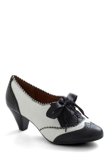 Shoeful of Sugar Heel in Black & White by Poetic License - Mid, Leather, Black, White, Party, Work, Menswear Inspired, Vintage Inspired, 20s, 30s, Luxe, Variation, Graduation, 60s, Top Rated