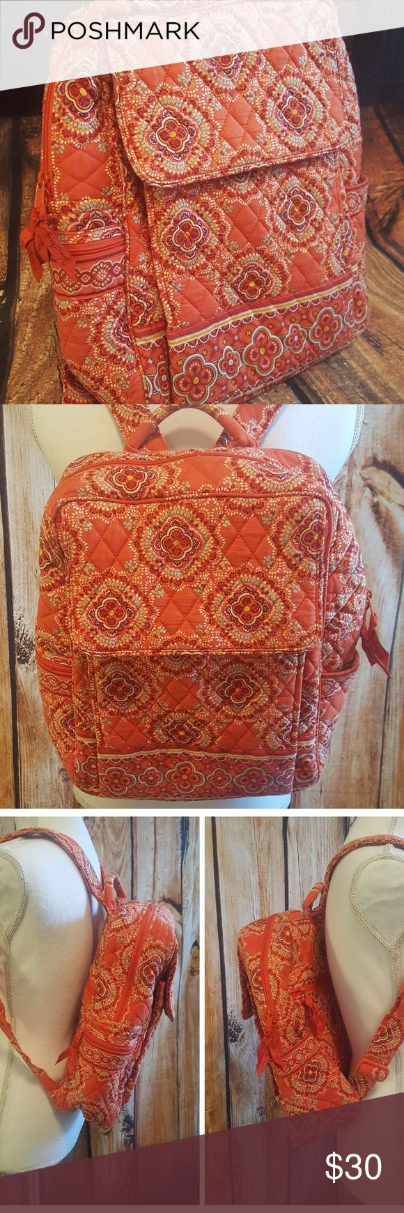"""Vera Bradley Backpack in Paprika 🤓📓🤓 Original Vera Bradley backpack in retired pattern """"Paprika"""".  Perfect lightweight backpack! Great for tablets & small laptops! Approximately 16 inches tall, 12 inches wide & 5 inches deep.  Several zipper compartments & plastic insert for student ID or license!  Completely machine washable!!! Used frequently & overall in great condition!!! Binding in bottom back, along seam is starting to show from wear, less than 1/2 inch of binding showing & not…"""