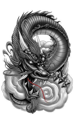 Grey Dragon-Giant Boys Temporary Tattoos