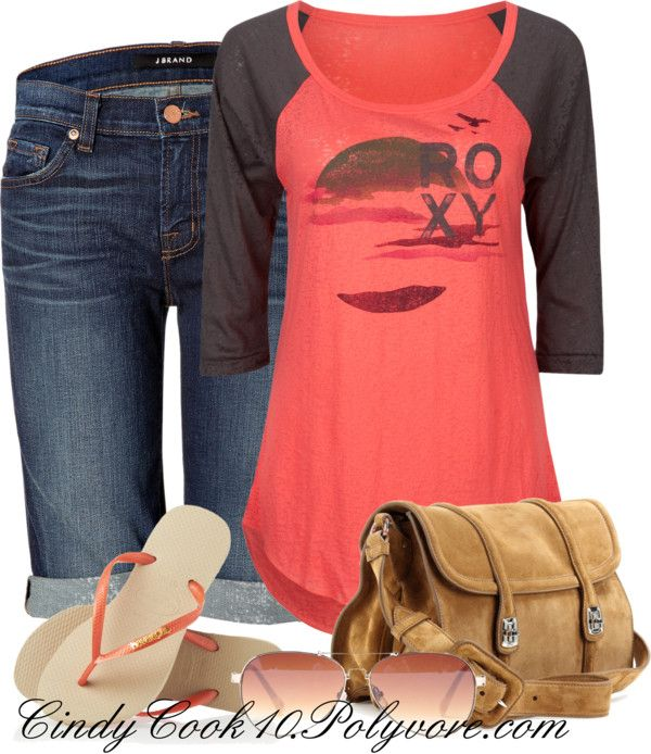 """""""Roxy Scene Tee"""" by cindycook10 on Polyvore"""