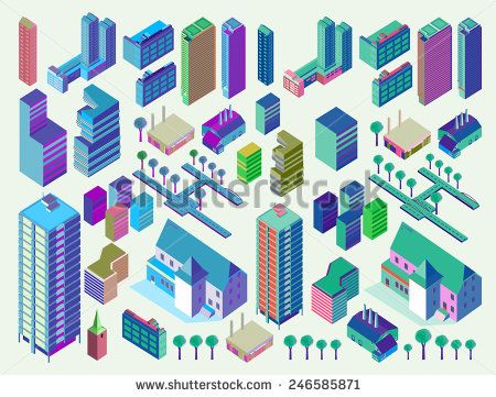 awesome vector #architect #building #isometric #popular #structure #map #world #game #fun #detailed #3d #vector #illustration #business #icon #home #cute #vintage