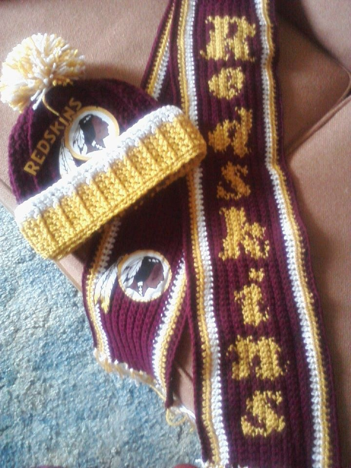 Crocheted #Redskins hat and scarf made and sent in by Joy.