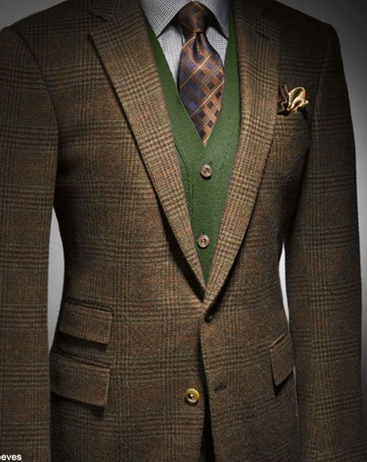 A modern twist to a classic Norfolk-inspired tweed suit.  This would look good if I was wearing green.