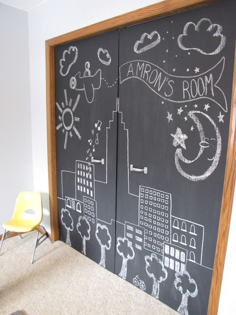 Wispy House: DIY Chalkboard Closet Doors - This would be amazing in a playroom.  Install bypass sliding doors (that slide in front of one another) and paint them with chalk paint.  You could even add a magnetic primer under the chalk paint.