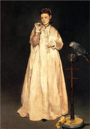 Femme avec un perroquet (1866)
