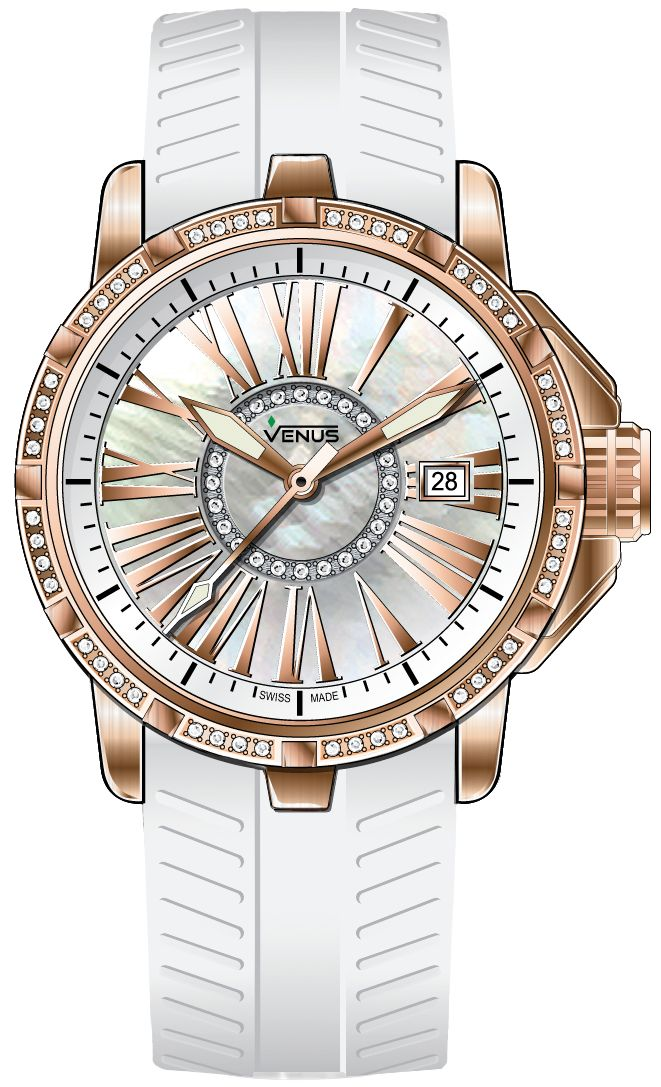 Time-date Quartz with 72 diamonds, PVD rose-gold coated folding clasp, white mother of pearl circle and Anti-allergic, white rubber strap, Genesis collection, VENUS