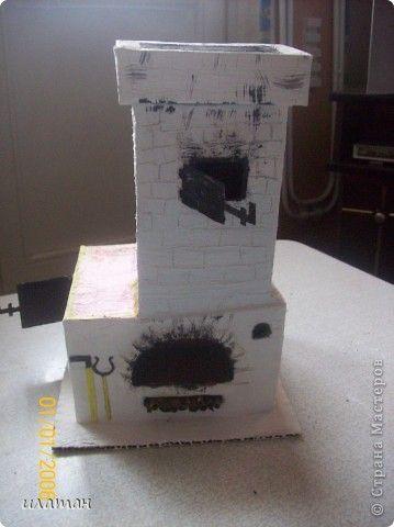 Макет модель Мастер-класс Поделка изделие Чайный домик-русская печь Картон Краска Скотч фото 1