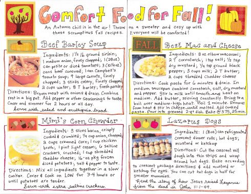 Click Image for Printable Recipes And to make it even EASIER for you, I made you a FREE Printable grocery list!  Click HERE for your Happy Home Fairy's Week of Dinners – Fall Comfort Food Edition!  I can't wait to hear how you all enjoy these treasured recipes!  Happy Fall Comfort Food-ing!