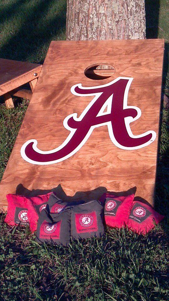 My custom Alabama corn hole boards I made along with the bama bags! RTR