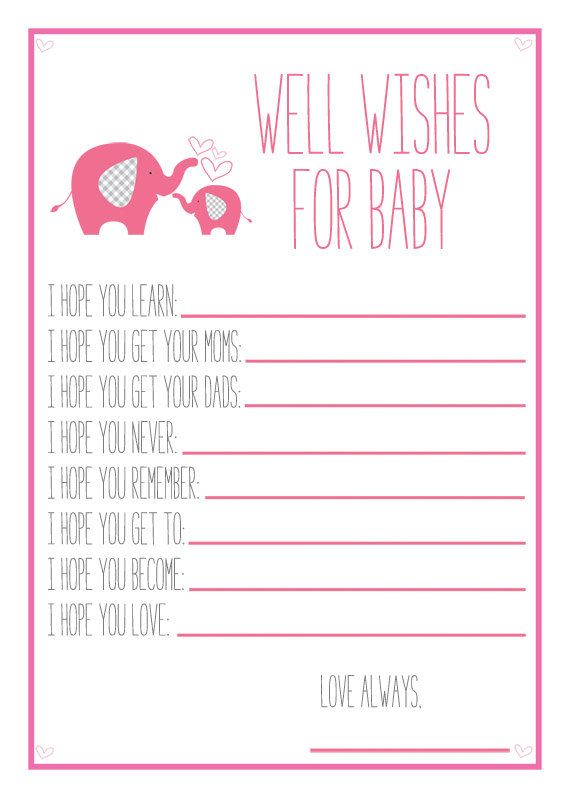 Pink elephant baby shower printable well wishes for baby for Wishes for baby template printable