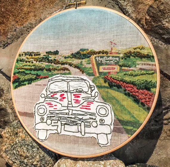 """Road trip!"" Modern embroidery hoop art/retro/1950s/hipster/vacation/midcentury  #retro art #mixed media #amysunshinedesigns.com"
