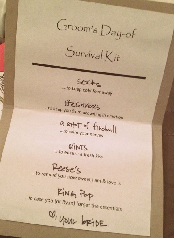 Diy Wedding Day Survival Kits For The Bride And Groom All The