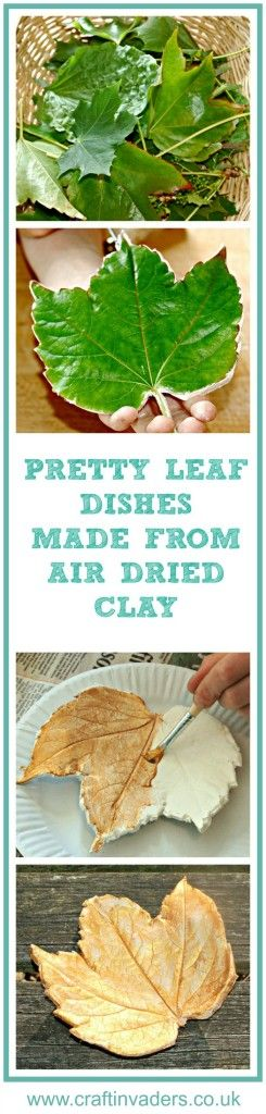 See how to make leaf dishes from air dried clay - fun fall craft activity for the whole famil;y