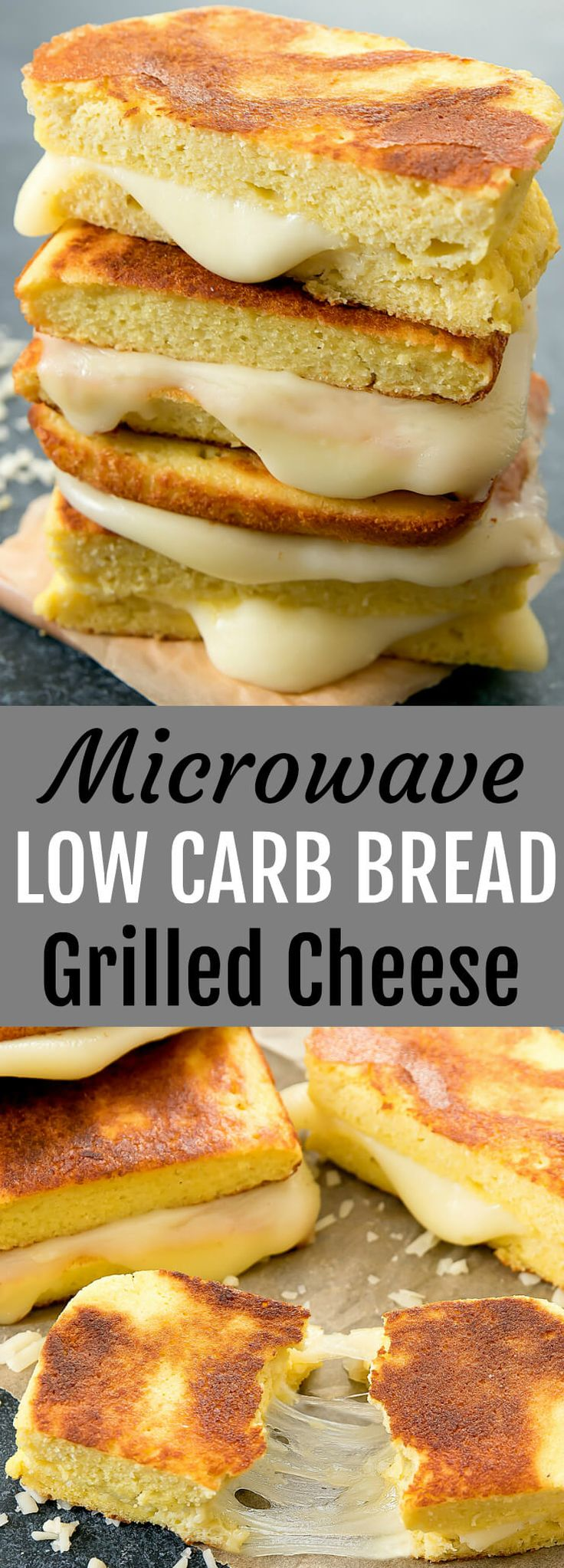 Microwave Low Carb Bread Grilled Cheese. This grilled cheese sandwich is made with a super easy low carb bread that cooks in the microwave. Oven version also provided.