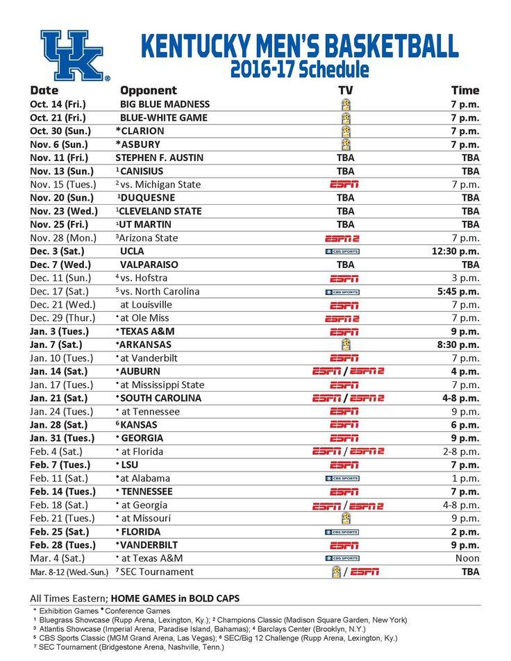 Kentucky Basketball Schedule 2016