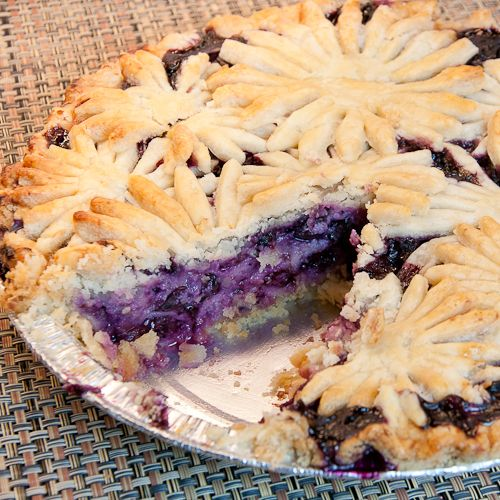 Blueberry Goat Cheese Pie - The flower crust on the top is lovely and it's so easy to do.  What a great idea!  The recipe is good too!  It makes a beautiful pie!