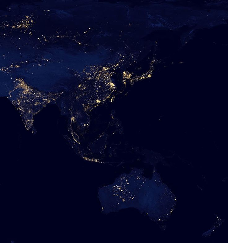 Asia and Australia at night. Japan stands out on this satellite view of Asia at night, along with the west coast of Taiwan, South Korea, Hong Kong and Bangkok. The route of the Trans-Siberian Railroad can be seen as a light line across the otherwise dark area of northern Russia. High city densities in eastern China, Indonesia, India and the eastern coast of Australia can clearly be seen. NASA Image