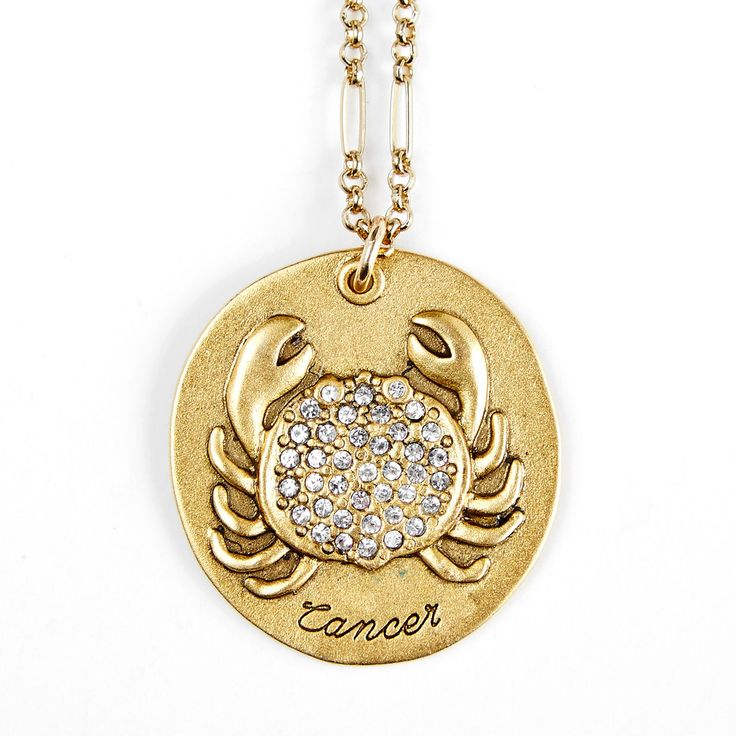 Sequin | Cancer Zodiac Necklace CANCER  June 21 - July 22  Nurturing, sentimental, warmly empathetic, and above all, lovingly devoted to family. This Star Maps Necklace features the Cancer Zodiac charm, embossed and studded with crystals.