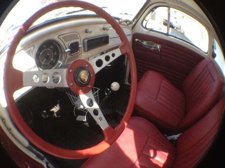 1969 Volkswagen Beetle >> Interna Vermelho Turin, volante porsche. | Fusca 1964