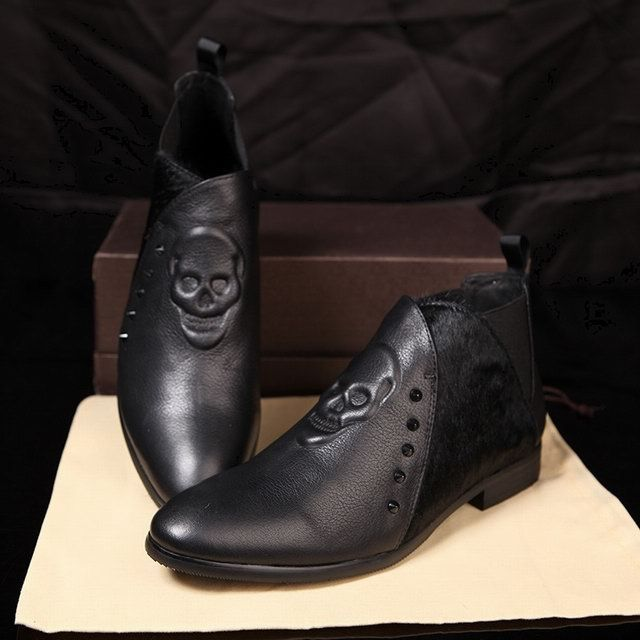 new mcqueen black leather skull casual shoes