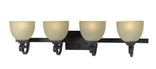 AF Lighting 7134-4WB Jessica 4 x 100-Watt Light Edison Base Vanity Light, Oil Rubbed Bronze with Antique Textured Glass by Elements. $117.00. From the Manufacturer                The Jessica 4 x 100-Watt light Edison base vanity light, from the Elements Series, oil rubbed bronze and antique textured glass. Simple lines and dramatic contrasts with the perfect symmetry of the glass shades lend this fixture a bit of the quaint even as it suggests transitional. Its hard ...