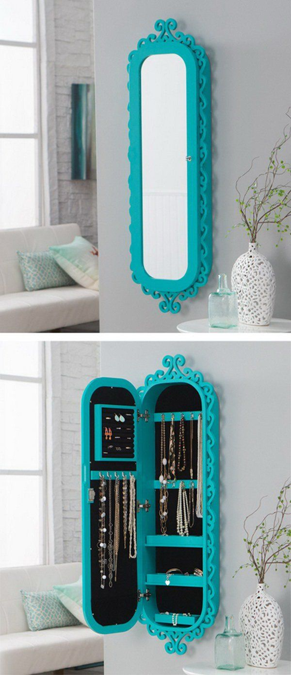 Wall Scroll Locking Mirror with Jewelry Storage.