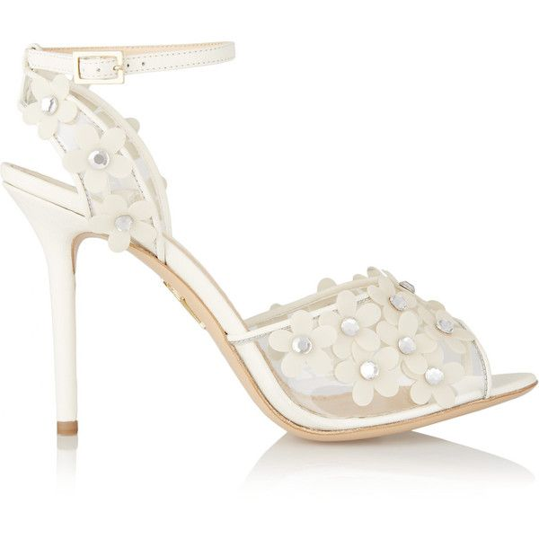 Charlotte Olympia - Daisy Embellished Leather And Pvc Sandals (8 930 UAH) ❤ liked on Polyvore featuring shoes, sandals, white, white leather shoes, white high heel sandals, floral sandals, strappy sandals and strappy high heel sandals