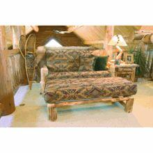 Mountain Woods Rustic Aspen Log Loveseat Futon w/Ottoman