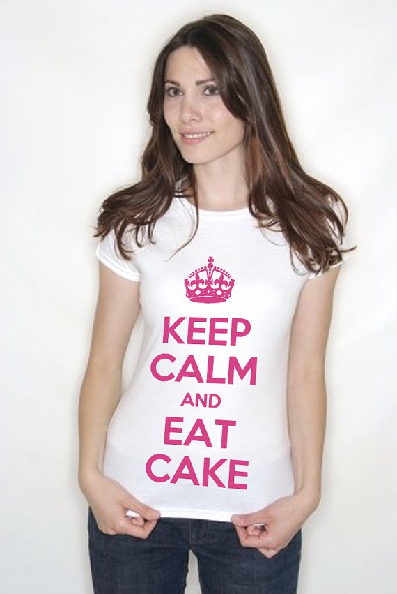 Keep Calm and Eat Cake Tshirt Add Your Own Text by Inkthreadable, £11.99