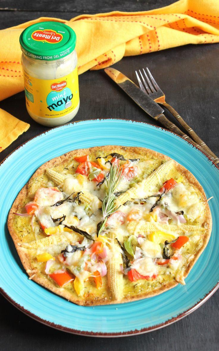 Veg Tortilla Pizza With Mint Mayo