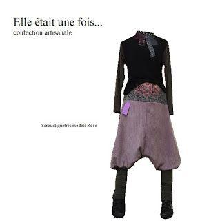 Elle était une fois... confection artisanale France: Sarouel/guêtres modèle Rose