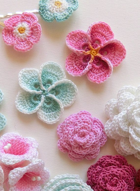 Crochet Plumeria pattern, Frangipani easy photo tutorial. These flowers are hand dyed, into any color scheme you like!