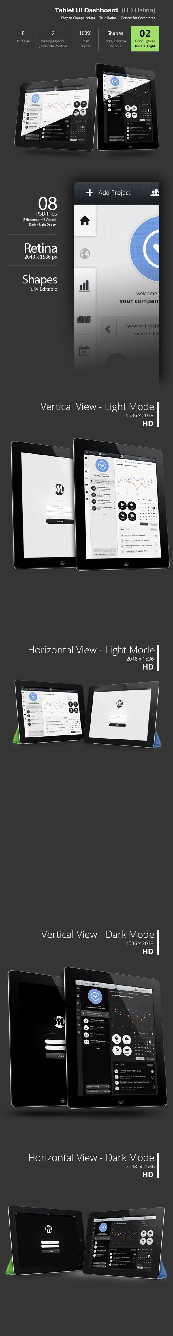 Tablet Dashboard Ui (Retina) by Bouncy Studio, via Behance