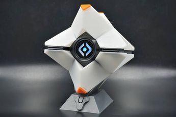 This Destiny Ghost model comes completely assembled, as pictured. There is a battery powered LED light inside in your choice of color, that is activated by a switch on the back of the body. The size of this ghost assembled is approximately: 5 in x 5 in x 3.5 in $49.99