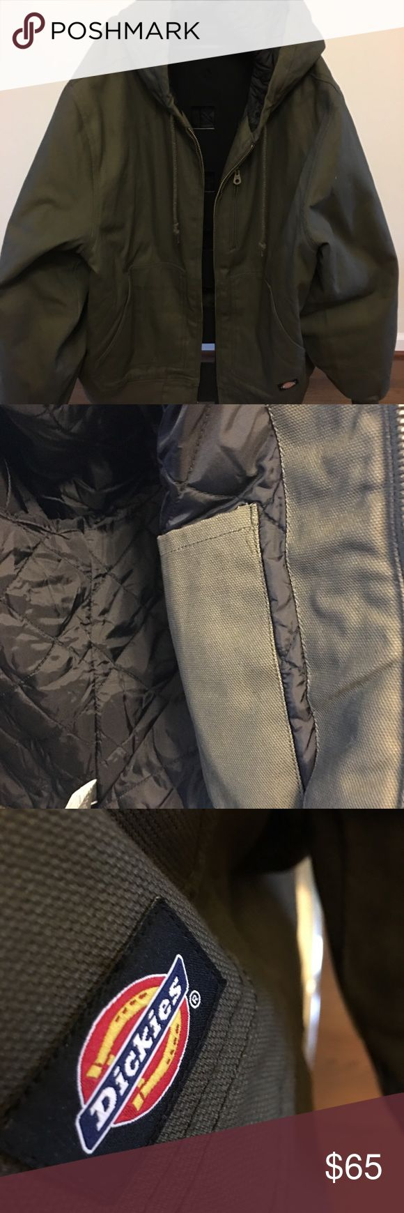 Men's Dickies Work Coat NWOT Dickies Canvas work Coat in excellent condition. Green in color, insulated with inside pocket and attached hood with drawstring. Machine washable. Dickies Jackets & Coats Bomber & Varsity