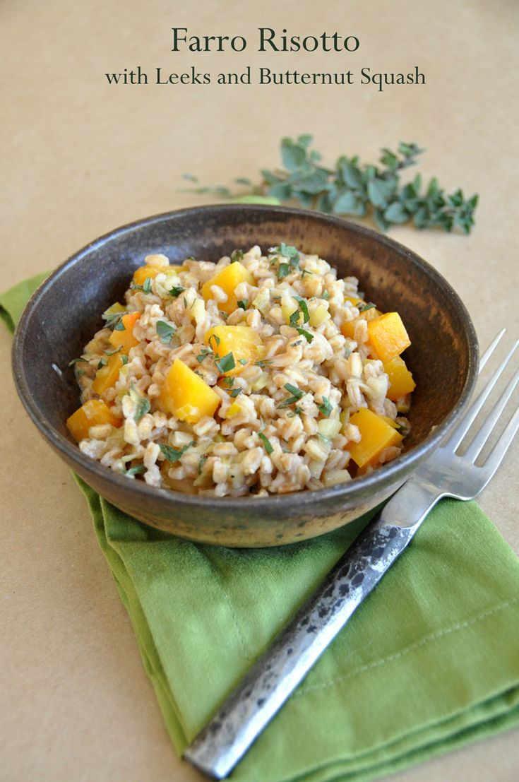 Print  Farro Risotto with Leeks and Butternut Squash