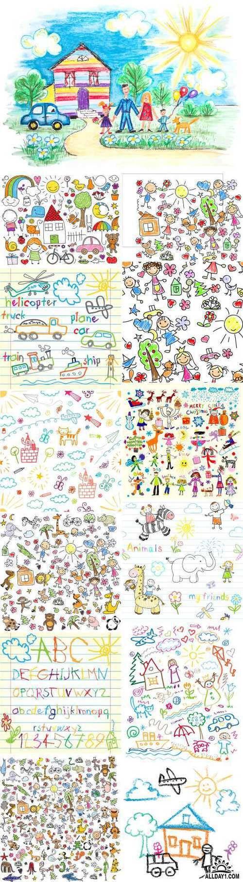 Детские рисунки | Kids drawings, 25xEPS